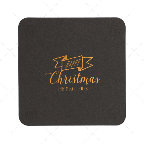 Happy Christmas Ribbon Coaster  | Personalized Eggshell Square Coaster with Shiny Merlot Foil Color has a Banner graphic and is good for use in Accents, Frames themed parties and will look fabulous with your unique touch. Your guests will agree!