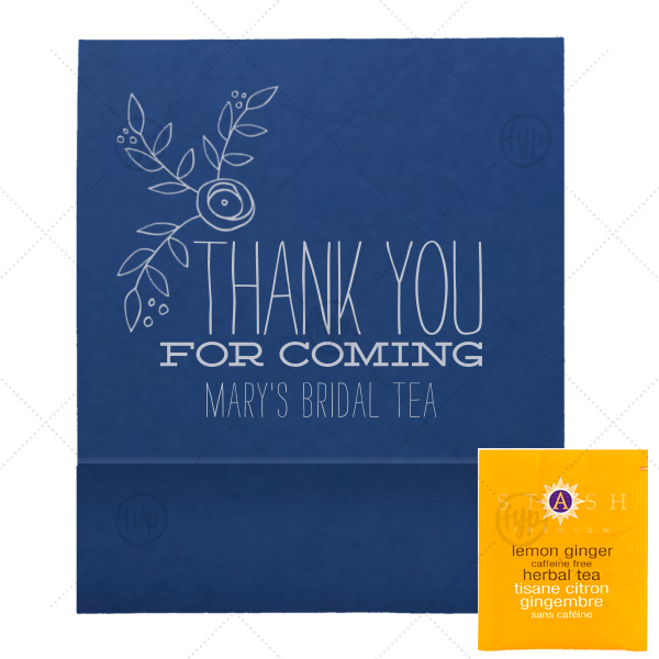 ForYourParty's personalized Natural Royal/Lt. Navy Tea Favor with Matte Dove Grey Foil Color has a Rose Accent 2 graphic and is good for use in Accents, Floral, Wedding themed parties and can be personalized to match your party's exact theme and tempo.