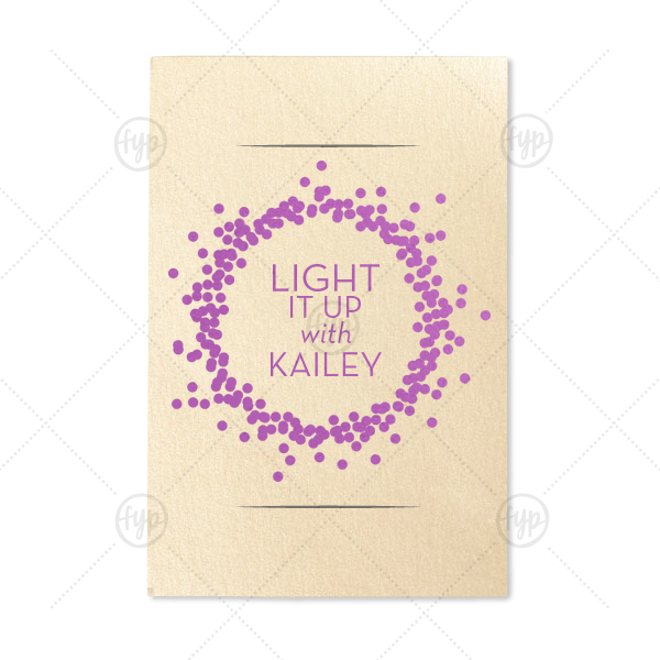 Light It Up Confetti Sparkler Sleeve | Our custom Stardream Ivory Small Sparkler Sleeve with Satin Plum Foil Color has a Confetti Frame graphic and is good for use in Frames themed parties and can be personalized to match your party's exact theme and tempo.