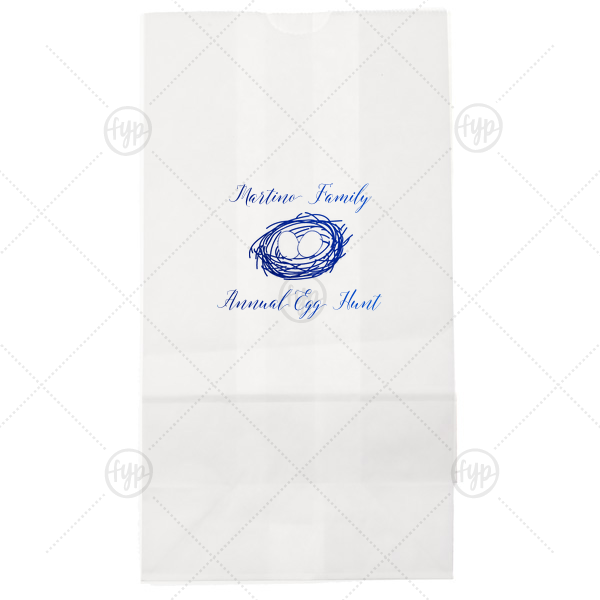 Earthy Easter Bag | Our personalized White Lunch Bag with Shiny Turquoise Foil has a Nest graphic and is good for use in Spring, and Easter themed parties and will impress guests like no other. Make this party unforgettable.