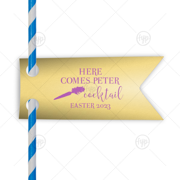 ForYourParty's personalized Poptone Mimosa Double Point Straw Tag with Satin Plum Foil has a carrot graphic and is good for use in Spring, Easter themed parties and can't be beat. Showcase your style in every detail of your party's theme!