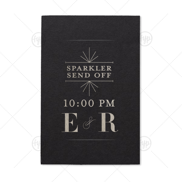 ForYourParty's elegant Natural Black Small Sparkler Sleeve with Shiny Sterling Silver Foil Color has a Line Frame graphic and is good for use in Frames themed parties and will give your party the personalized touch every host desires.
