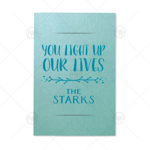 You Light Up Our Lives Sparkler Sleeve | ForYourParty's chic Stardream Tiffany Blue Small Sparkler Sleeve with Satin Teal / Peacock Foil Color has a Leaf Vine graphic and is good for use in Frames themed parties and will add that special attention to detail that cannot be overlooked.