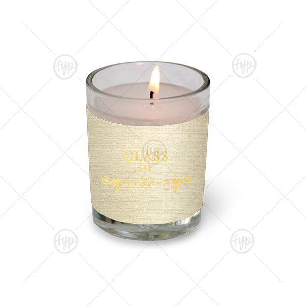 Class Of Flourish Votive Candle   ForYourParty's elegant Linen Ivory Votive Candle with Shiny 18 Kt Gold Foil Color has a Decorative Flourish graphic and is good for use in Accents themed parties and will give your party the personalized touch every host desires.