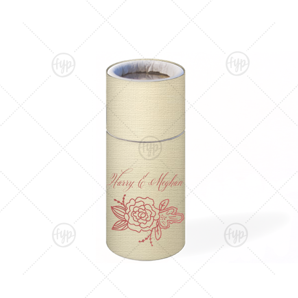 ForYourParty's elegant Linen Ivory Barrel Matchbox with Shiny Rose Quartz Foil has a Peony Accent graphic and is good for use in Floral and Elegant Wedding and Parties and will look fabulous with your unique touch. Your guests will agree!