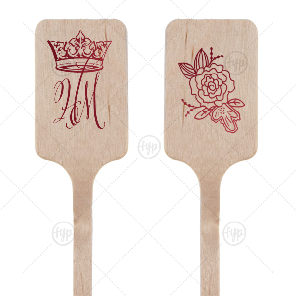 Royal Couple Stir Stick | ForYourParty's personalized Shiny Merlot Rectangle Stir Stick with Shiny Merlot Foil has a Crown graphic and a Peony Accent graphic and is good for use in Royal, Formal and Wedding parties and are a must-have for your next event—whatever the celebration!
