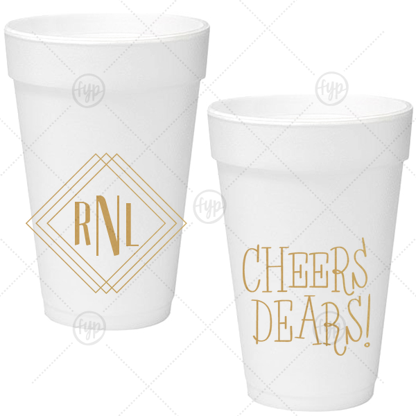 Diamond Initials Foam Cup | Our custom Gold Ink 16 oz Foam Cup with Gold Ink Screen Print has a Diamond Frame graphic and a Cheers dears graphic and is good for use at home or for Birthday and Dinner parties and will give your party the personalized touch every host desires.