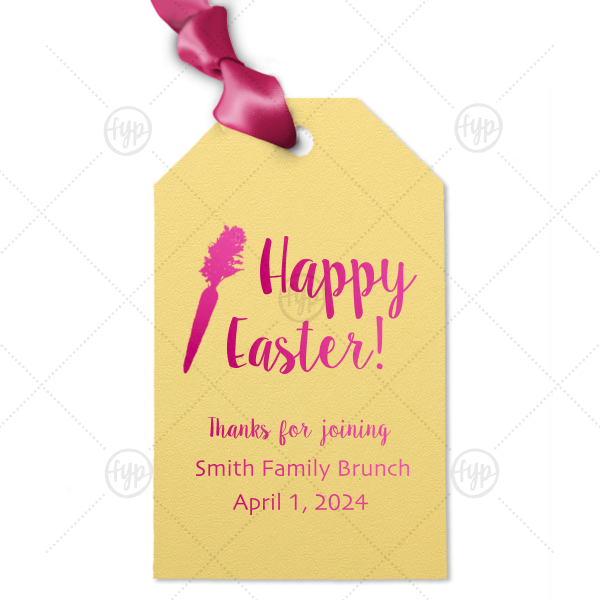 Easter Brunch Tag | Our personalized Poptone Mimosa Luggage Gift Tag with Shiny Fuchsia Foil has a carrot graphic and is good for use in Food themed parties and can't be beat. Showcase your style in every detail of your party's theme!