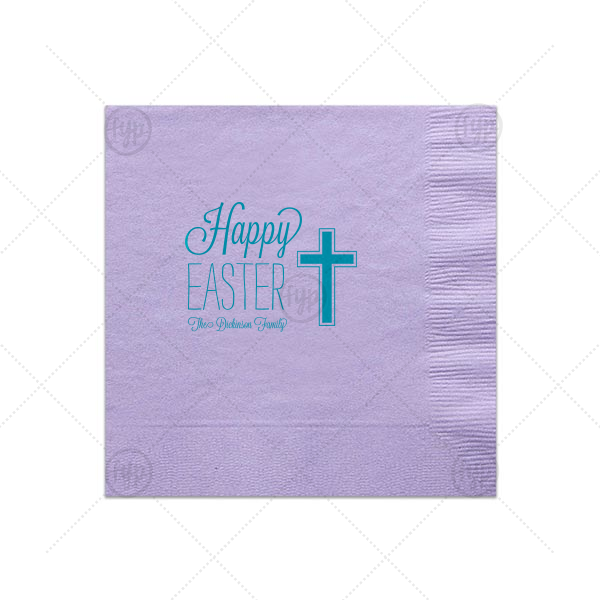 Easter Cross Napkin | ForYourParty's personalized Lavender Luncheon Napkin with Satin Teal / Peacock Foil has a Cross graphic and is good for use in Christian, Easter themed parties and can be customized to complement every last detail of your party.