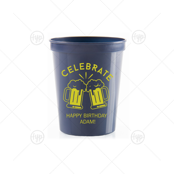 Celebrate Beer Mug Cup | Personalized Navy 16 oz Stadium Cup with Matte Chartreuse Ink Cup Ink Colors has a Beer Toast graphic and is good for use in Birthday, Drinking themed parties and can be personalized to match your party's exact theme and tempo.