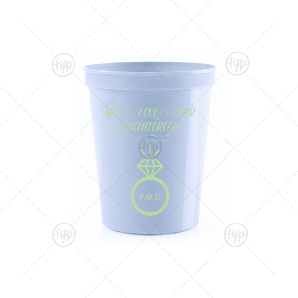 Bachelorette Engagement Ring Stadium Cup | ForYourParty's chic Powder Blue 16 oz Stadium Cup with Matte Mint Ink Cup Ink Colors has a Diamond Ring graphic and is good for use in Wedding, Bridal Shower, Bachelorette themed parties and will look fabulous with your unique touch. Your guests will agree!