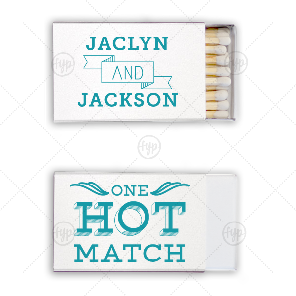 The ever-popular Natural Frost White Classic Matchbox with Matte Teal/Peacock Ink Foil Color has a Accent And 5 graphic and a One Hot Match graphic and is good for use in Words, Wedding, Anniversary themed parties and are a must-have for your next event—whatever the celebration!