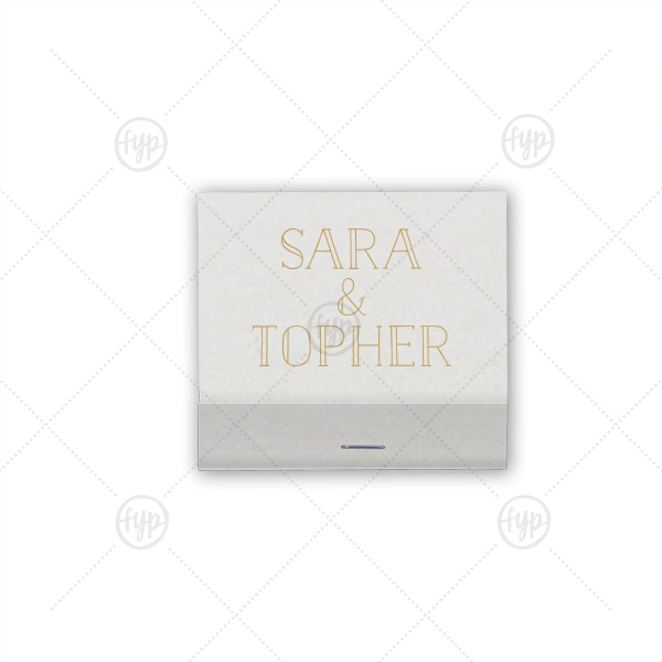 Line Font Name Matchbook | Our custom Amethyst Shimmer 30 Strike Matchbook with Satin 18 Kt. Gold Foil can be personalized to match your party's exact theme and tempo.