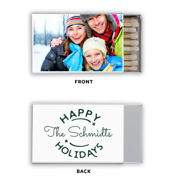 Happy Holidays Photo/Full Color Matchbox | ForYourParty's chic Photo/Full Color Matchbox with Matte Spruce Print Color couldn't be more perfect. It's time to show off your impeccable taste.