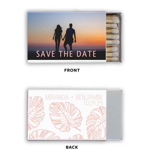 Save the Date Palm Photo/Full Color Matchbox | Our custom Photo/Full Color Matchbox with Matte Pastel Pink Ink Print Color has a Palm Pattern graphic and is good for use in Floral and Beach themed parties and will make your guests swoon. Personalize your party's theme today.