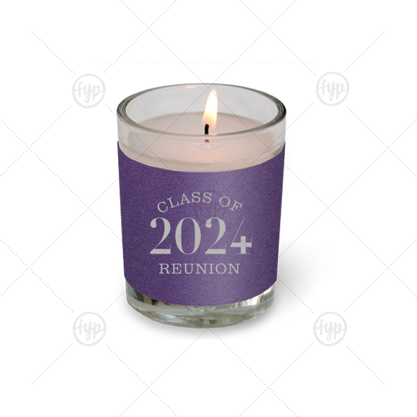 Our custom Natural Amethyst Votive Candle with Satin Sterling Silver Foil Color will impress guests like no other. Make this party unforgettable.
