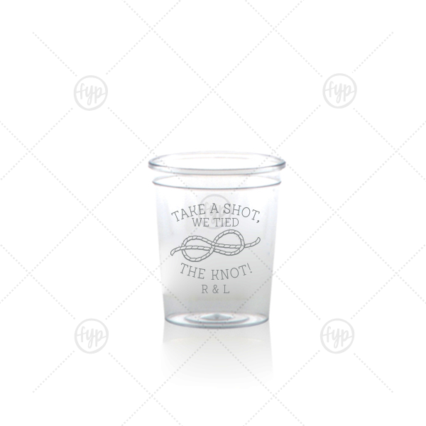 We Tied The Knot Shot Glass | Personalized Matte Slate Gray Ink Plastic Shot Glass with Matte Slate Gray Ink Screen Print has a Knot graphic and is good for use in Wedding themed parties and can be personalized to match your party's exact theme and tempo.