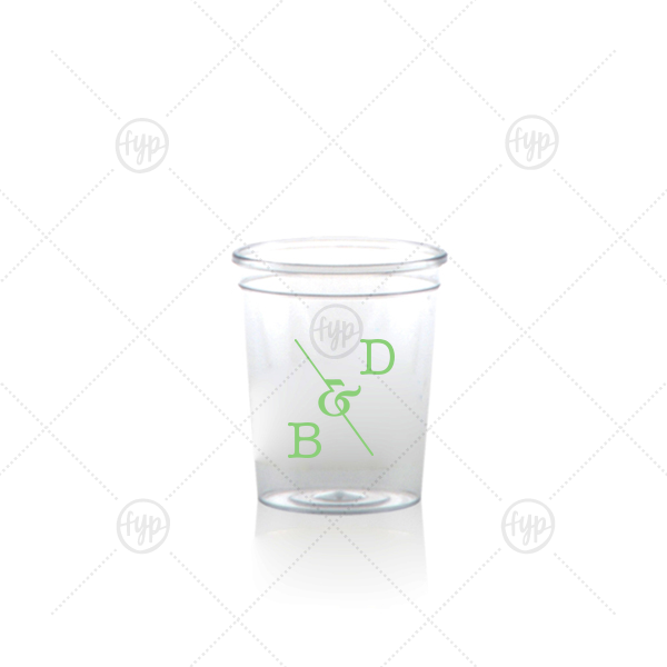 Initial Ampersand Shot Glass | ForYourParty's elegant Matte Key Lime Ink Plastic Shot Glass with Matte Key Lime Ink Screen Print has a Accent Ampersand graphic and is good for use in Accents, Words, Wedding themed parties and will give your party the personalized touch every host desires.