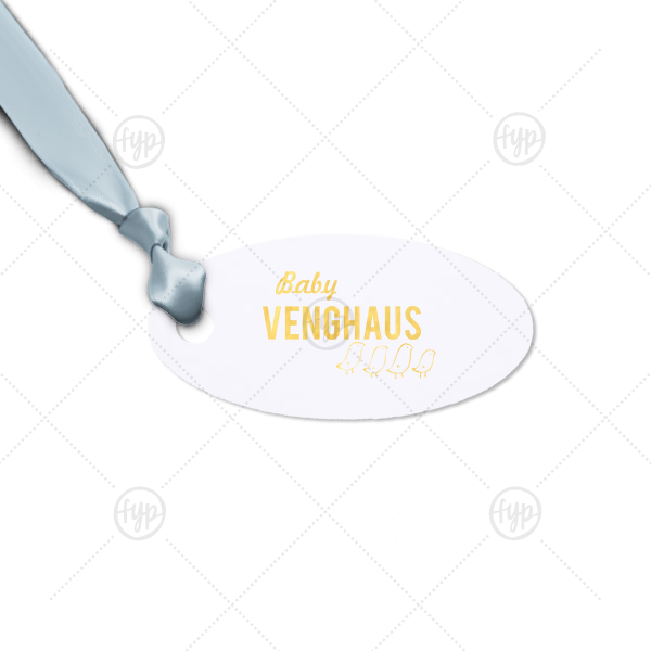 Baby Bird Tag | Our custom Natural Frost White Oval Gift Tag with Shiny 18 Kt Gold Foil Color has a Chicks graphic and is good for use in Baby, Kid, Animal themed parties and will impress guests like no other. Make this party unforgettable.