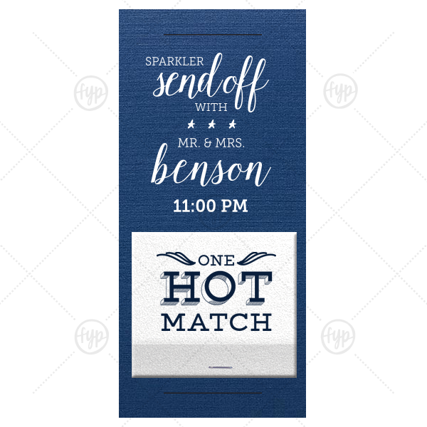 Our custom Linen Navy Blue Large Sparkler Sleeve with Shimmer 30 Strike with Matte White Foil Color and Matte Navy Foil Color has a One Hot Match graphic and is good for use in Wedding, Anniversary themed parties and can't be beat. Showcase your style in every detail of your party's theme!