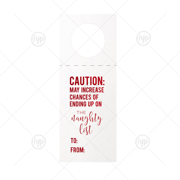 Naughty List Wine Tag