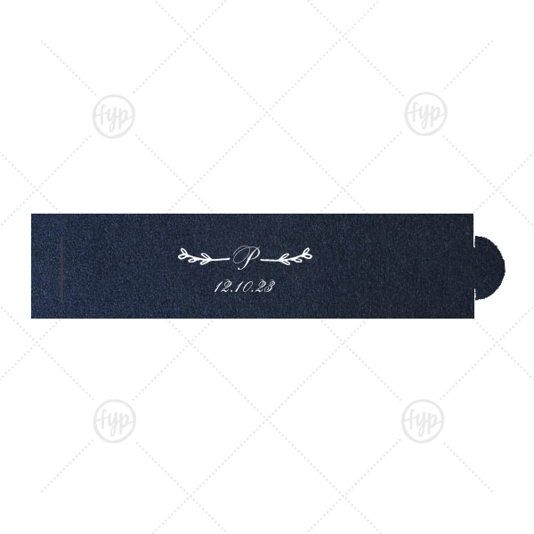 Leaf Single Initial Napkin Ring | ForYourParty's chic Stardream Navy Napkin Ring with Matte White Foil Color has a Leaf Single Initial graphic and is good for use in Wedding and Anniversary themed parties and will impress guests like no other. Make this party unforgettable.