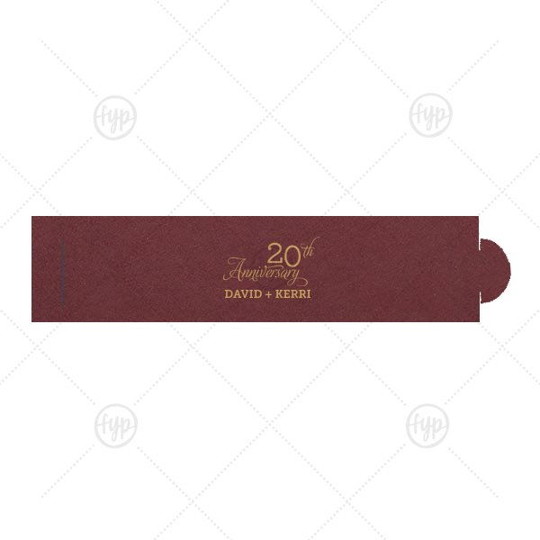 20th Anniversary Script Napkin Ring | The ever-popular Natural Cranberry Napkin Ring with Satin 18 Kt. Gold Foil Color has a Anniversary 20 graphic and is good for use in Anniversary, Wedding themed parties and will give your party the personalized touch every host desires.