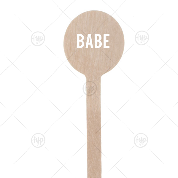 Babe Stir Stick | Our personalized Matte White Round Stir Stick with Matte White Foil can't be beat. Showcase your style in every detail of your party's theme!