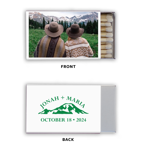 Mountains Calling Photo/Full Color Matchbox | Click Customize More to Upload your photo and make edits. Custom Photo/Full Color Matchbox with Matte Black Ink couldn't be more perfect. It's time to show off your impeccable taste.