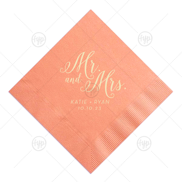 Mr and Mrs Calligraphy Napkin |