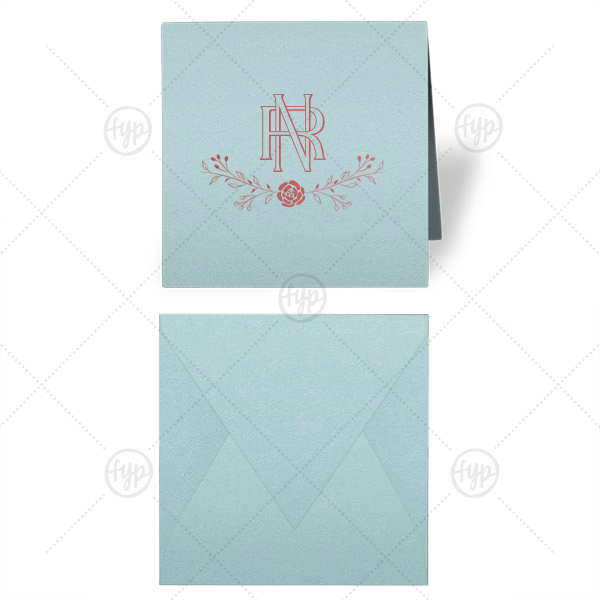 ForYourParty's elegant Poptone Sky Blue Gift Enclosure with Shiny Rose Quartz Foil has a Floral Vine graphic and intertwined initials and is an elegant choice for your gift giving and personal correspondence needs. A must-have for your next event—whatever the celebration!