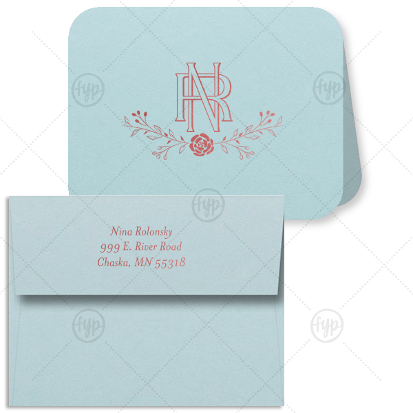 Entwined Initials Note Card With Envelope | Our personalized Poptone Sky Blue Rounded Corner Note Card with Shiny Rose Quartz Foil has a Floral Vine graphic and Intertwined Initials, making it an elegant choice for stationery. It's time to show off your impeccable taste.