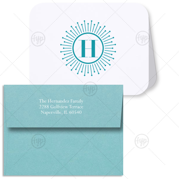 Sunburst Initial Note Card With Envelope | Our custom Natural Frost White Rounded Corner Note Card with Matte Teal/Peacock Foil and Matte White Foil has a sunburst frame graphic and bold initial and couldn't be more perfect for your correspondence. It's time to show off your impeccable taste.