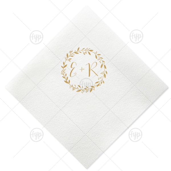 Initials With Leaf Frame Napkin