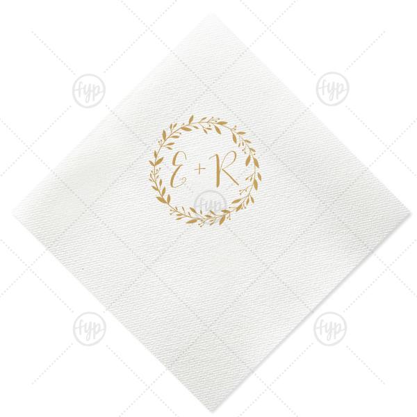 Initials With Leaf Frame Napkin